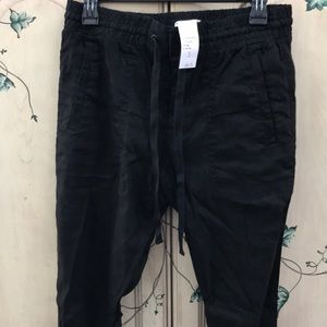 Black Linen Pants with Draw String Waist